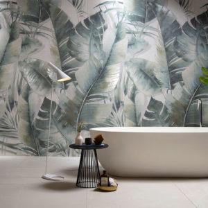 rivestimento per bagno foglie tropicali