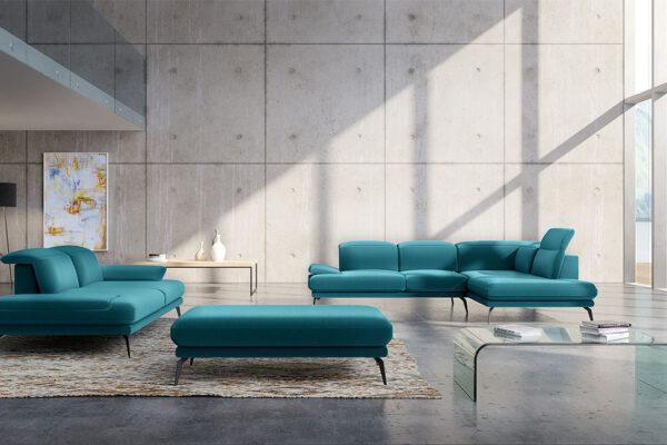 divano letto ad angolo verde smeraldo